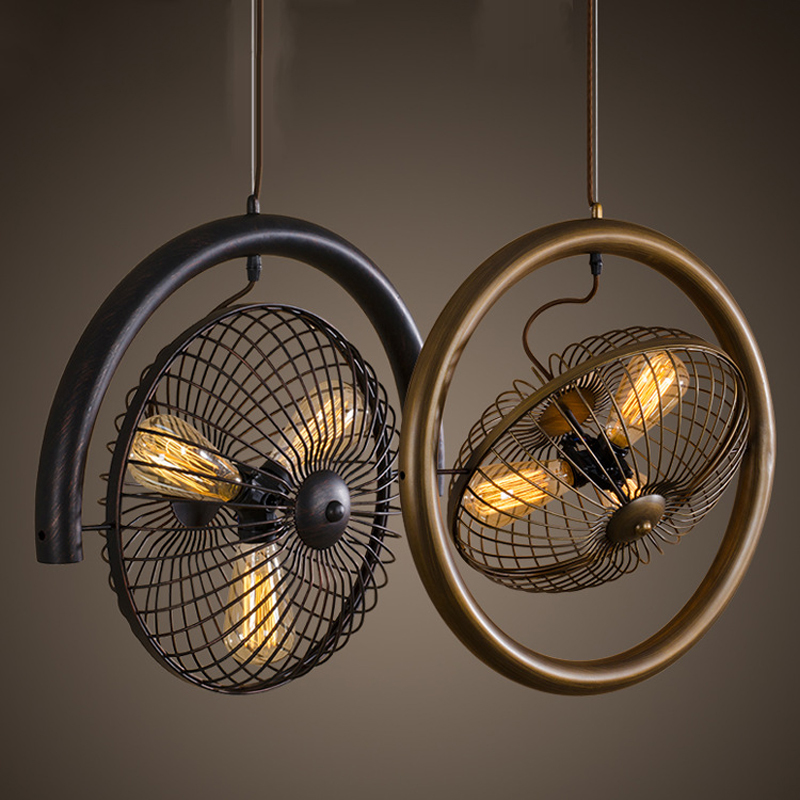 Retro Classic Metal Hanging Light Industrial Loft 3 Heads Home Decoration Bar Cafe Hallway Balcony Fan Pendant Lamp Fixture P554 3 6 heads vintage iron pendant light loft industrial lighting metal pendant lamp hanging lights e14 bar cafe restaurant wpl186