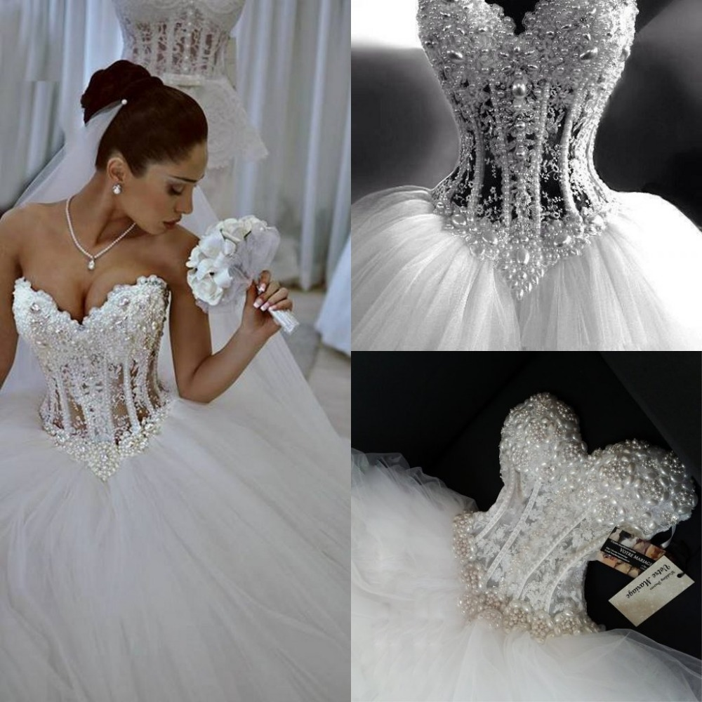 Buy Luxury Wedding Dresses : Aliexpress buy luxury sheer lace wedding dress corset crystal