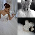 Luxury Sheer Lace Wedding Dress Corset Crystal Pearls Sweetheart Bridal Dress Princess Wedding Ball Gowns 2017 Vestido De Noiva