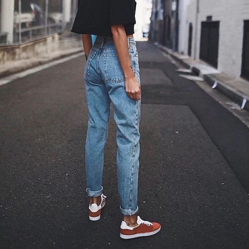 Vintage Women Boyfriend Jeans Korean Streetwear High Waisted Jeans Casual Light Blue Pencil Denim Pants in Jeans from Women 39 s Clothing