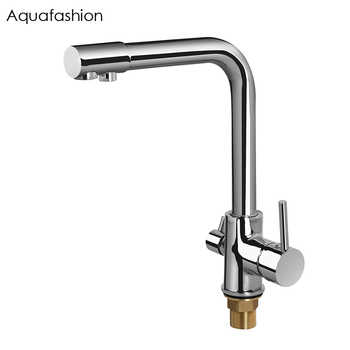 Brass Swivel Drinking Water Faucet 3 Way Water Filter Purifier Kitchen Faucets For Sinks Taps Chrome Black Beige - DISCOUNT ITEM  47% OFF All Category