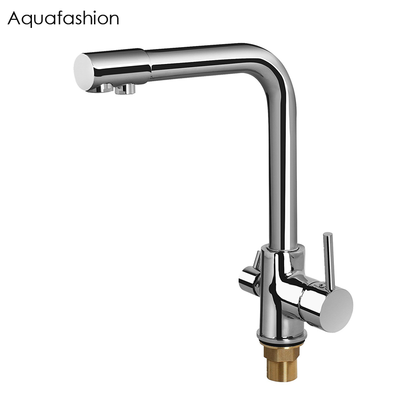 Brass Swivel Drinking Water Faucet 3 Way Water Filter Purifier Kitchen Faucets For Sinks Taps Chrome Black Beige