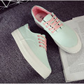 New Platform Shoes for Women 2016 Breathable Lace up Canvas Shoes Women Thick Sole Casual Shoe Girls Zapatos Mujer