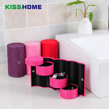 Flock Cylinder Three Layers Storage Jewelry Box 4 Color Protable Vintage Case Women Accessories Packing Gift Container