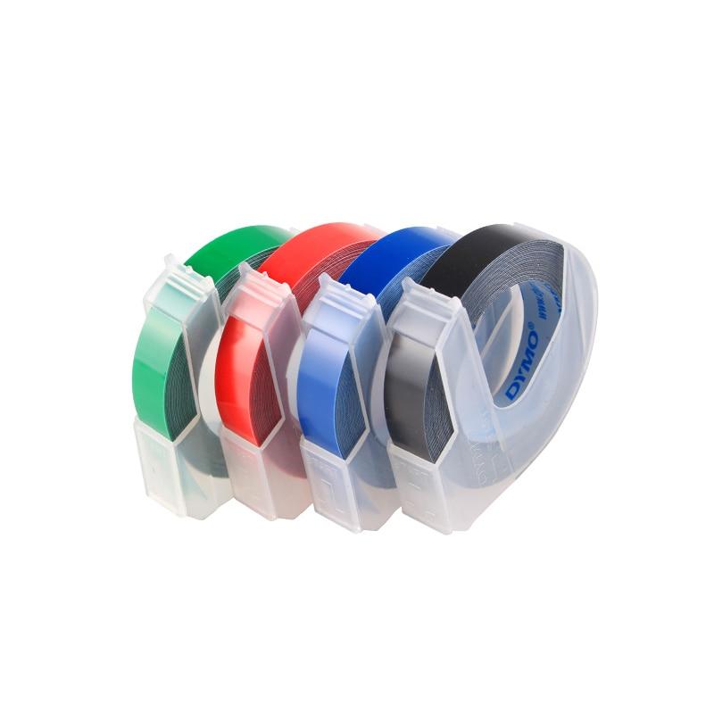 5PKS Goffratura DYMO 3D S0847700 Plastica Verde Nastri 12mm * 3 m goffratura bianco su verde stampanti di etichette