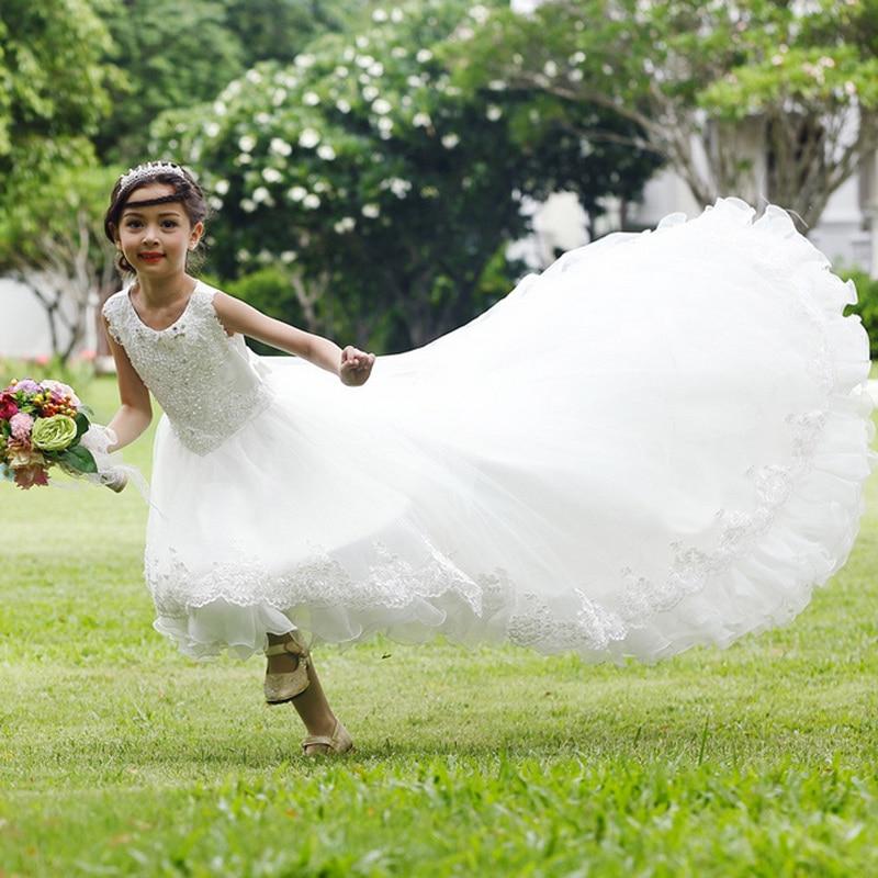 2017 Princesse Enfants de Robe de Partie de soirée De Mariage robe Fille robe de Bal Robes Sans Manches super Enfant Longue Queue