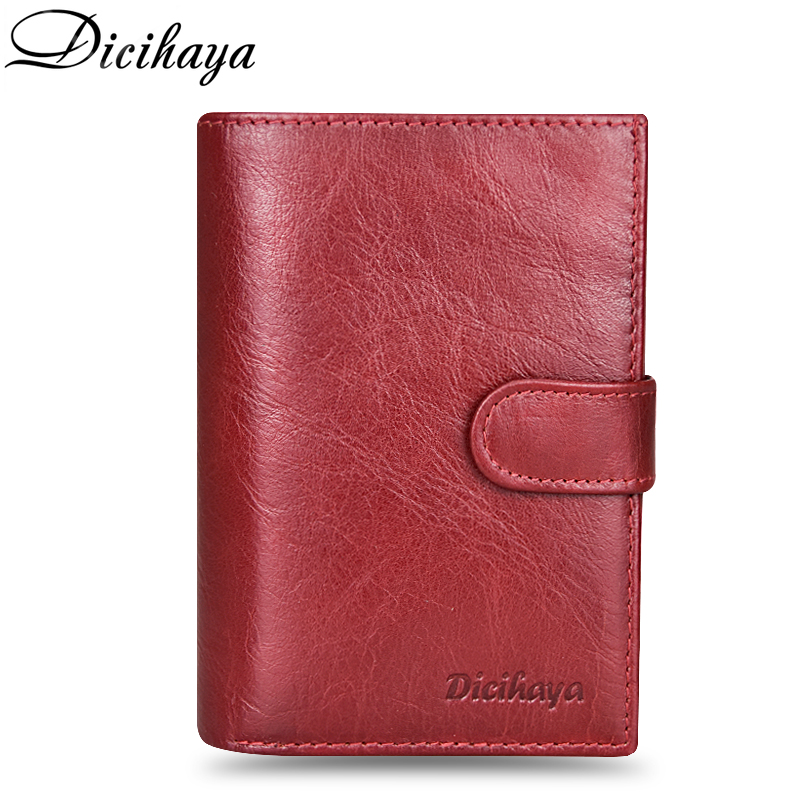 DICIHAYA Genuine Leather Women 39 s Passport Cover Wallet Large Capacity Passport Holder Coin Purse Red Leather Wallets Card Holder in Wallets from Luggage amp Bags