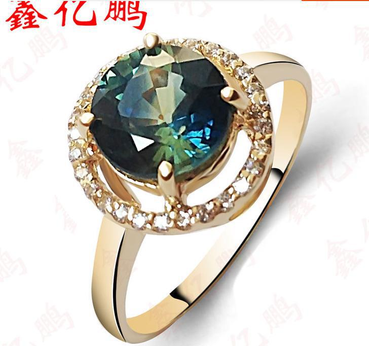 The new female 18 k gold natural sapphire ring Circular fashion contracted Fashion jewelry quality goods 18 k rose gold with natural ruby ring female fine jewelry classic contracted the flower shape