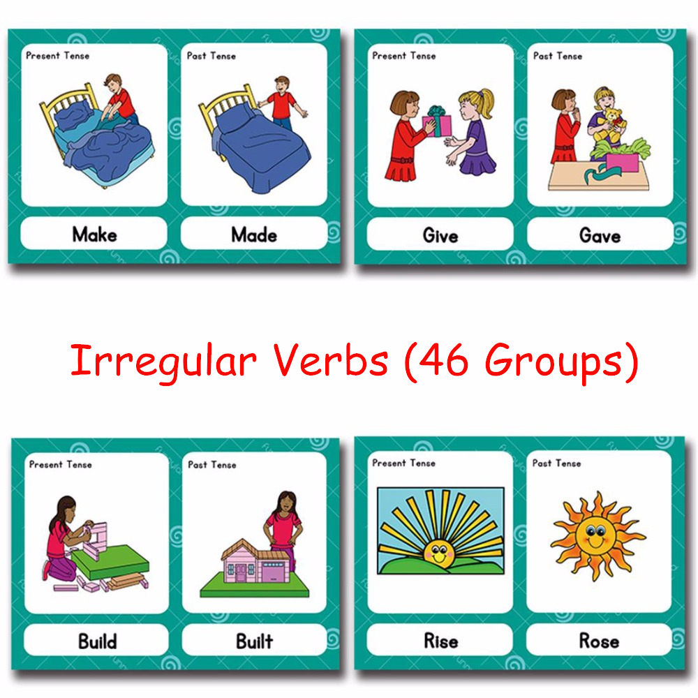 46Groups/Set Irregular Verbs English Word Card Flashcards Games Puzzle Learning Educational Toys For Children Kids Montessori