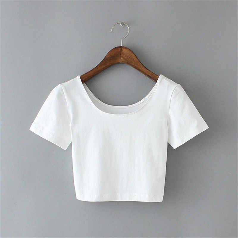 CDJLFH Blusas Mujer دي مودا 2018 امرأة مثير المحاصيل أعلى قميص الصيف قصيرة الأكمام س الرقبة الصلبة الألوان أسود أبيض رمادي بلوزة