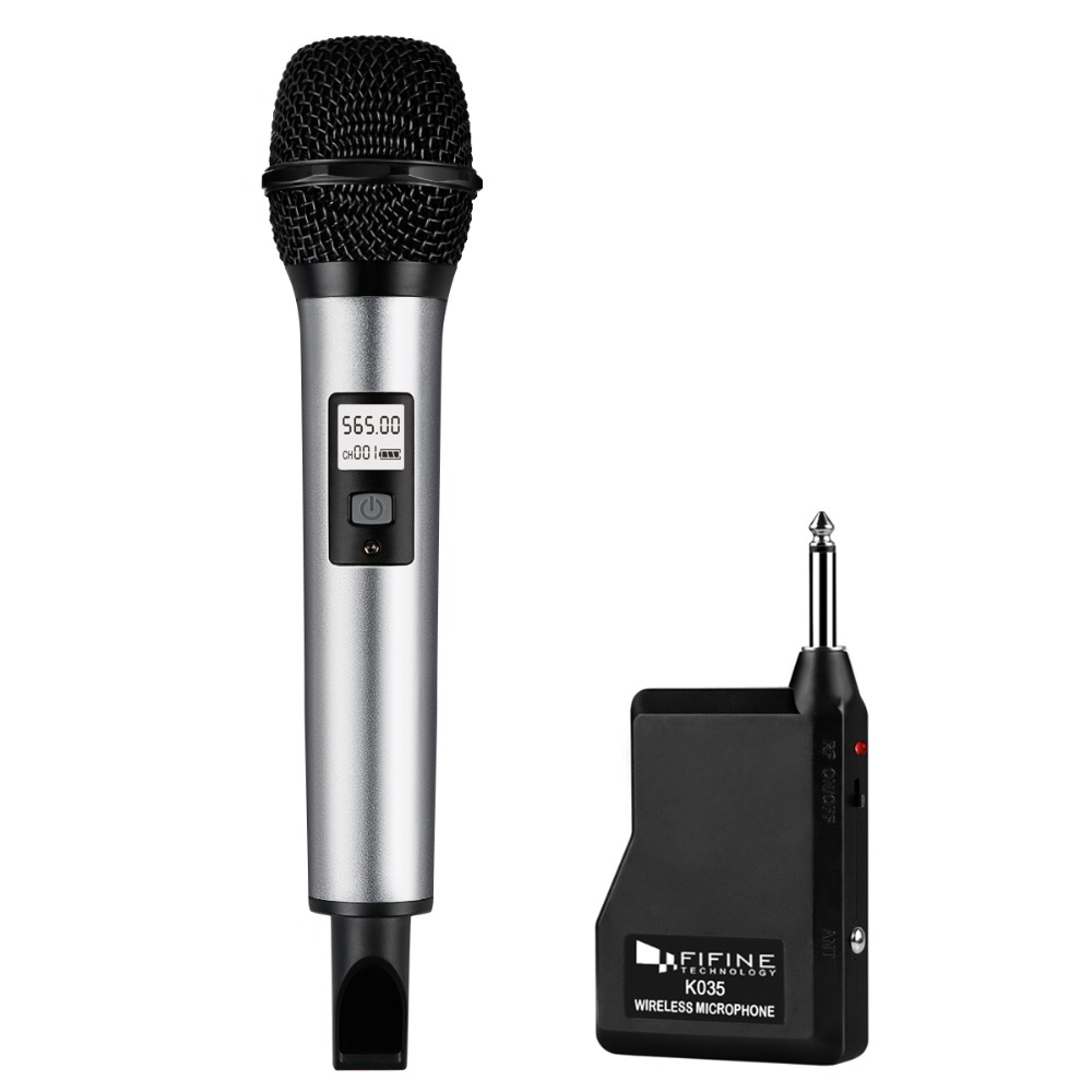 Fifine Wireless Microphone System with Portable Receiver 1/4'' Output UHF Channels Perfect for Show Stage Church, Wedding K035 1