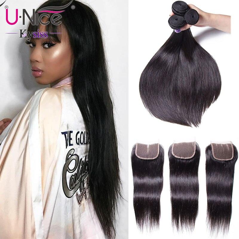 UNice Hair Kysiss Series Indian Hair Straight 3 Bundles With Closure 8 30 Indian Virgin Human