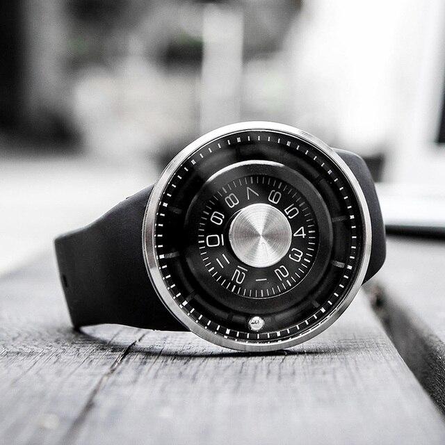 Creative Ball Rotation Brand New Men Watches Stainless Steel Silicone Strap Quartz Sport Watch Men Fashion Relogio Masculino