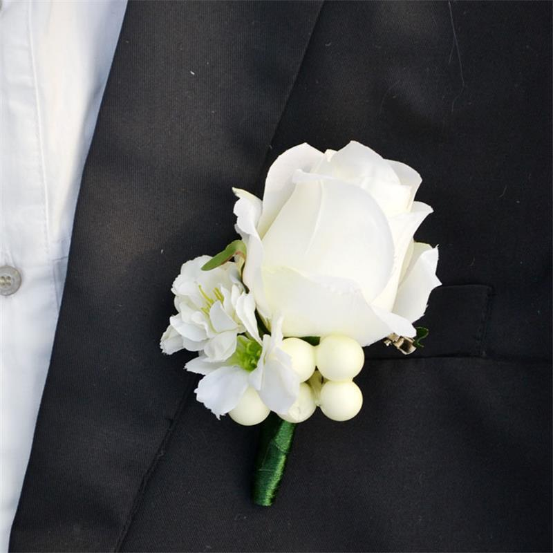 4 pcs lot wedding flowers grooms boutonniere best man groomsman corsages ivory rose party prom. Black Bedroom Furniture Sets. Home Design Ideas