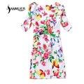 Mujeres del estilo del verano Dreess 2016 impresión de moda vestido ocasional de la corto manga del o-cuello de bohemia mujeres del verano vestido Vestidos tallas grandes