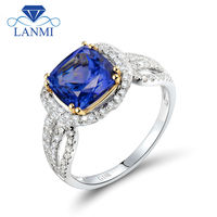 Cushion 8x8mm Natural Diamond Tanzanite Engagement Ring 18K Gold Women Two Tone Rings WU276