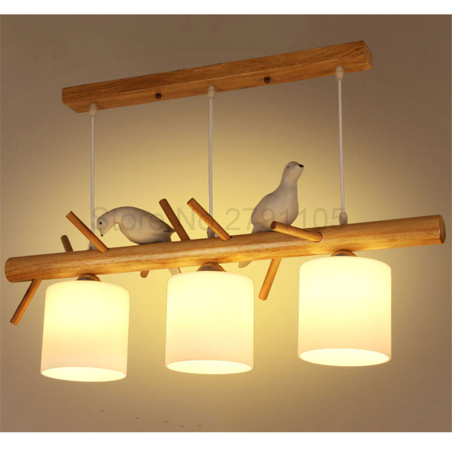 Modern Pendant Lamp Simple Restaurant Living Room Solid Wood Hanging Nordic Light Originality Resin Bird