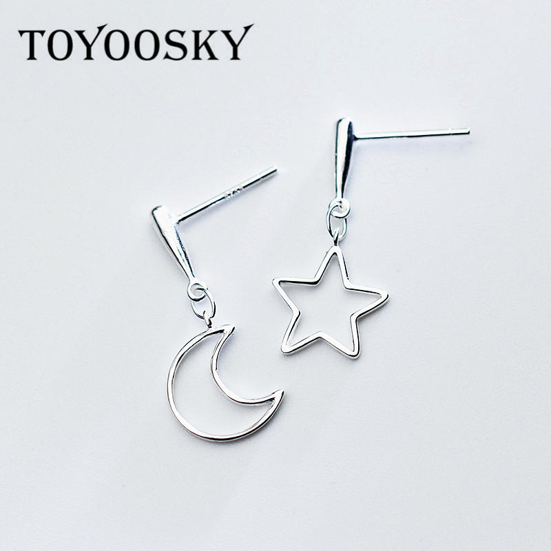 2018 Design Fashion Contracted Moon Star Shape Asymmetry Drop Earrings Geometry For Women 925 Sterling Silver Jewelry moon design drop earrings