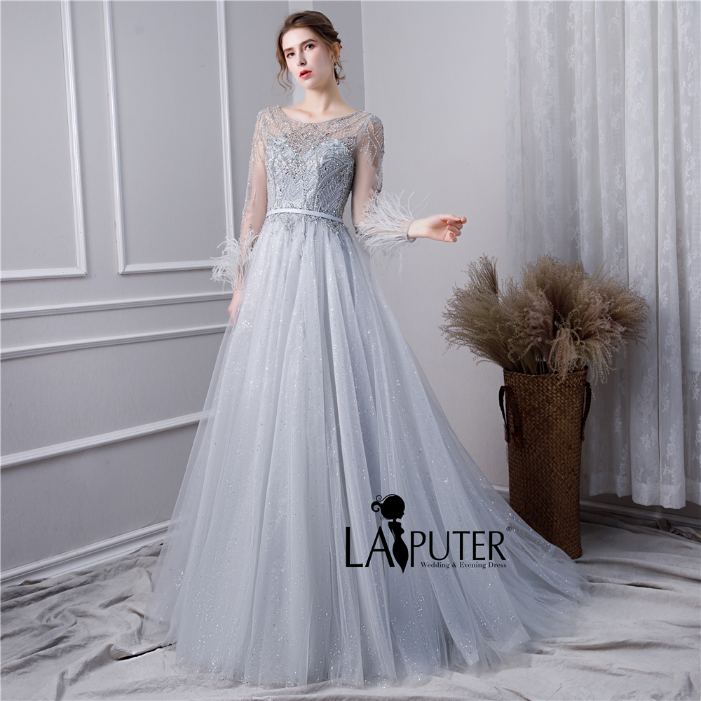 9e58e52ddbef5 LAIPUTER 2019 Prom Dress with Long Feather Sleeves Scoop Neck Heavy ...