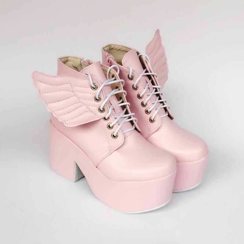 Japanese Harajuku High Platform Pink Girl Lolita Ankle Boots Angel Wings PU Leather Lolita Cosplay Short Boots
