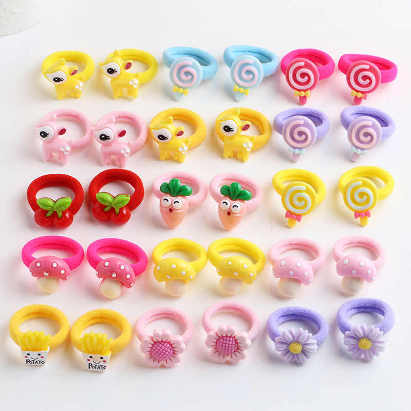 10Pcs/Set Cute Baby Girl Hair Band Cartoon Kids Children Elastic Hair Ropes Rubber Headwear Haarband Baby Hair Accessories