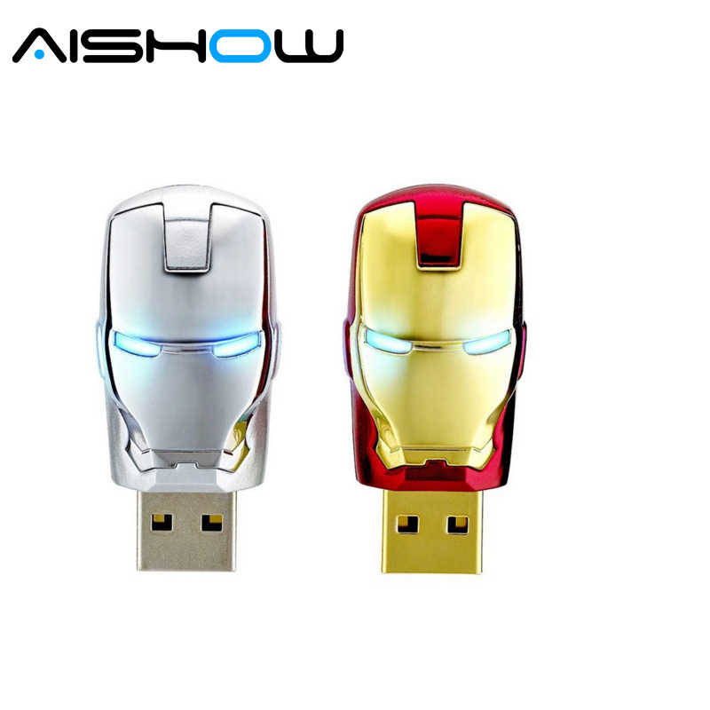 Đặc biệt cung cấp pen drive 4 gb 8 gb 16 gb 32 gb 64 gb Kim Loại Sắt man USB memory flash card + LED light ổ đĩa flash Superman pendrives