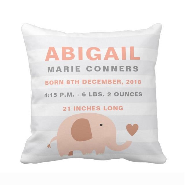 personnalise mignon elephant bebe naissance annonce taie d oreiller decoratif coussin couverture souple polyester coton