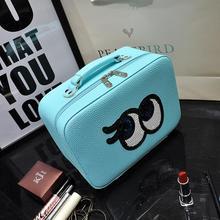 2017 Korean Fashion Cosmetic Bag Mirror Large Capacity PU Cosmetics Storage Bag Organizor Cartoon Cute Eyes Ladies Makeup Bag