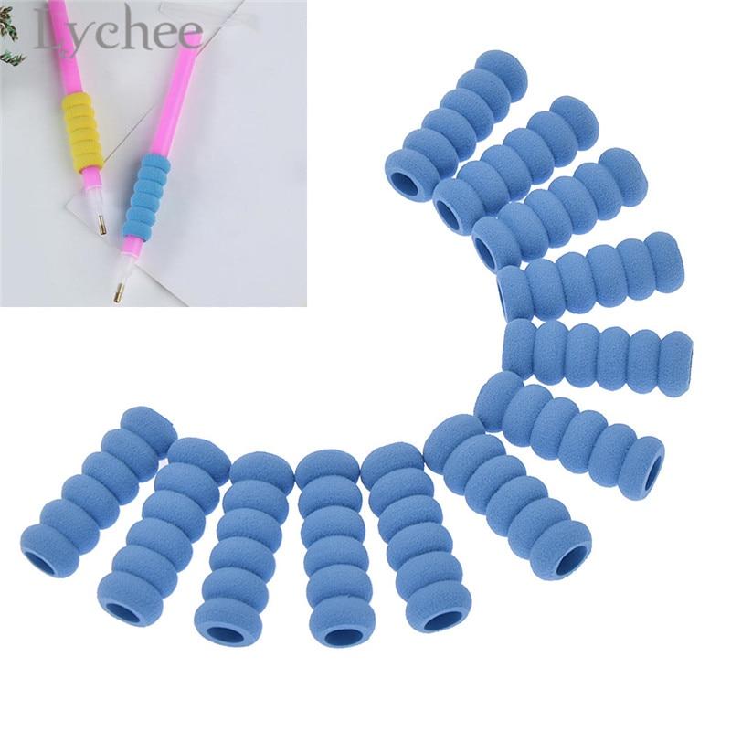 12Pcs Pencil Grip Soft Sponge Foam Anti-slip Pen Diamond Painting Tools Drill