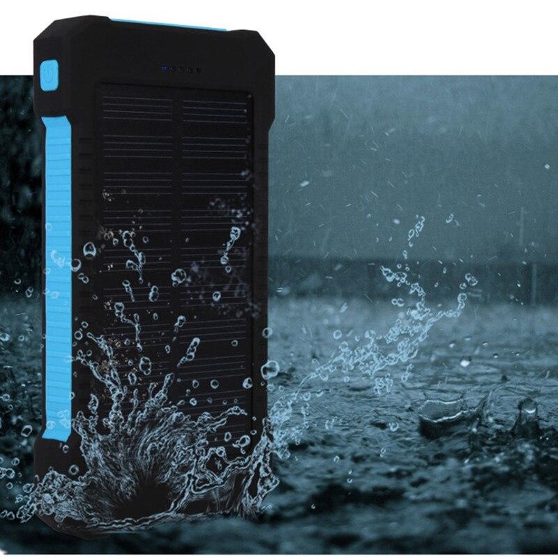 NUEVA Prueba de Agua Solar Li-polímero Banco de la Energía 10000 mah Dual USB Ca