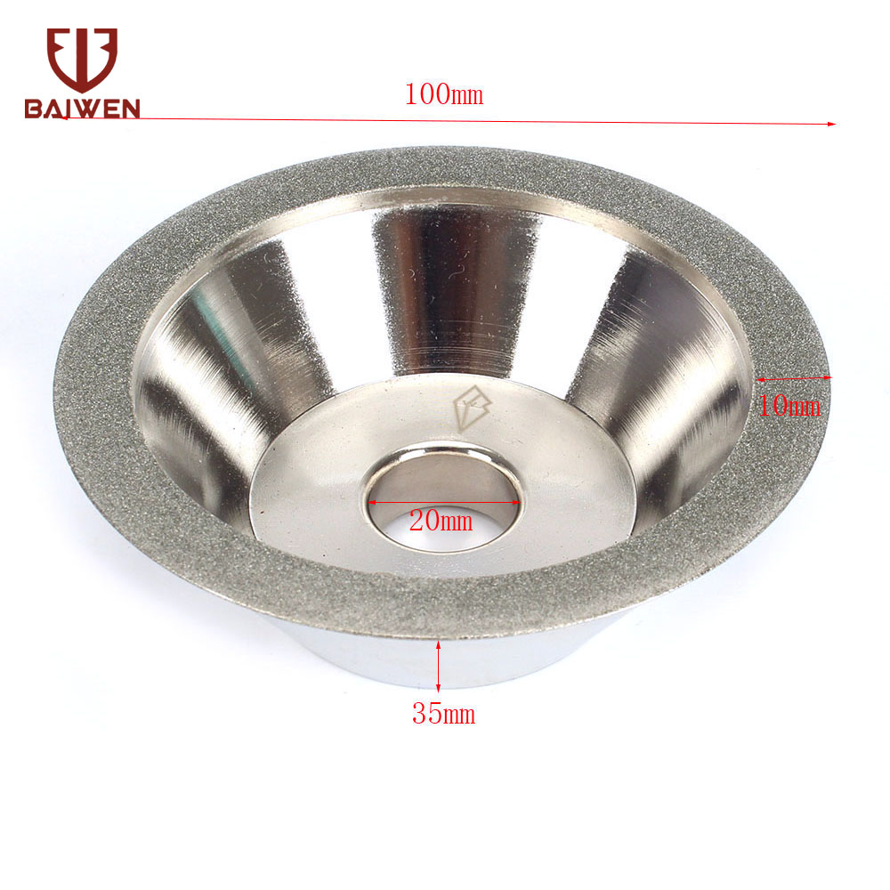45 Degrees 100mm Diamond Grinding Wheel Cup Grinding Circle For Tungsten Steel Milling Cutter 100*20*35*10