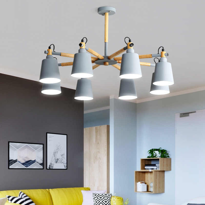 Nordic style chandelier style minimalist modern living room lamp Macarons  wood log master bedroom lamp Restaurant