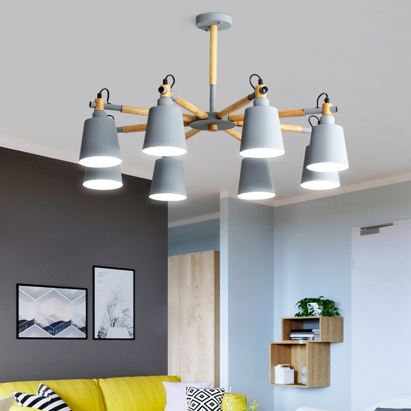 все цены на Nordic style chandelier style minimalist modern living room lamp Macarons wood log master bedroom lamp Restaurant онлайн