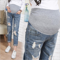 Spring Fall Maternity Wear Pregnancy Clothes For Pregnant Pants Casual Fashion Women Trousers Straight Plus Size Hole Jeans W017