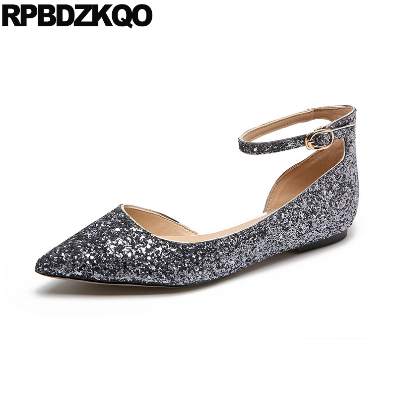 Ballerina Sandals Ankle Strap Dress Women Glitter Sequin Pointed Toe Ballet Chinese Wedding Shoes Gold Silver Flats Designer blue sequin large size gold pointy ballerina sparkling women chinese wedding shoes flats bow party ballet 10 glitter loafers