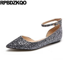 Ballerina Sandals Ankle Strap Dress Women Glitter Sequin Pointed Toe Ballet  Chinese Wedding Shoes Gold Silver Flats Designer 28fb8f4992c8