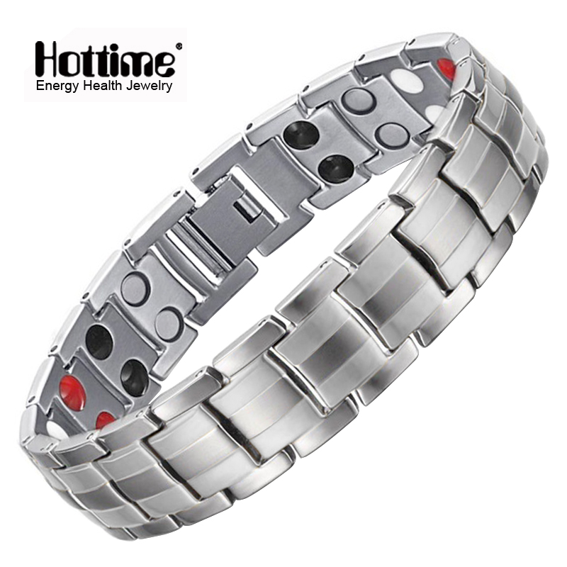 Hottime Fashion Jewelry Healing Magnetic Stainless Steel Bio Energy Bracelet For Men Blood Pressure Accessory Silver Bracelets