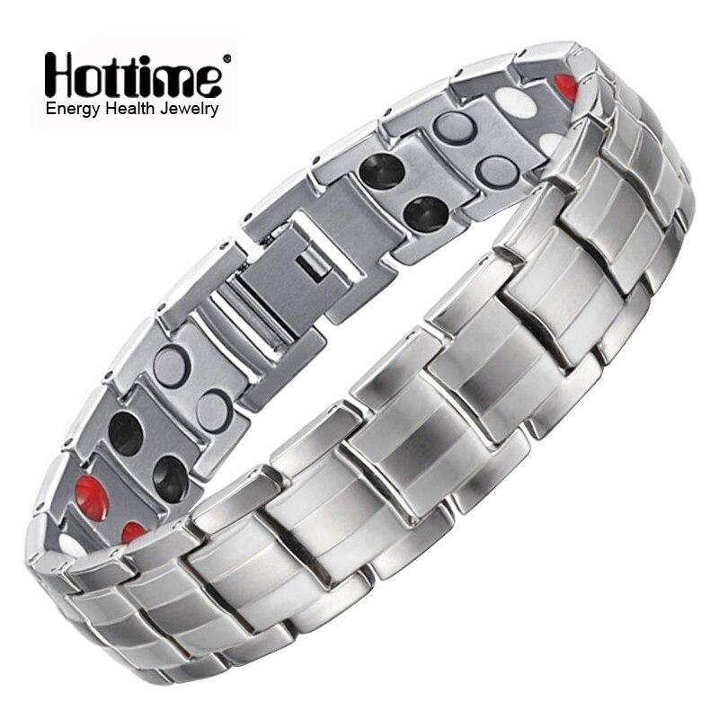 Hottime Fashion Jewelry Healing Magnetic Stainless Steel Bio Energy Bracelet For Men Blood Pressure Accessory Silver Bracelets