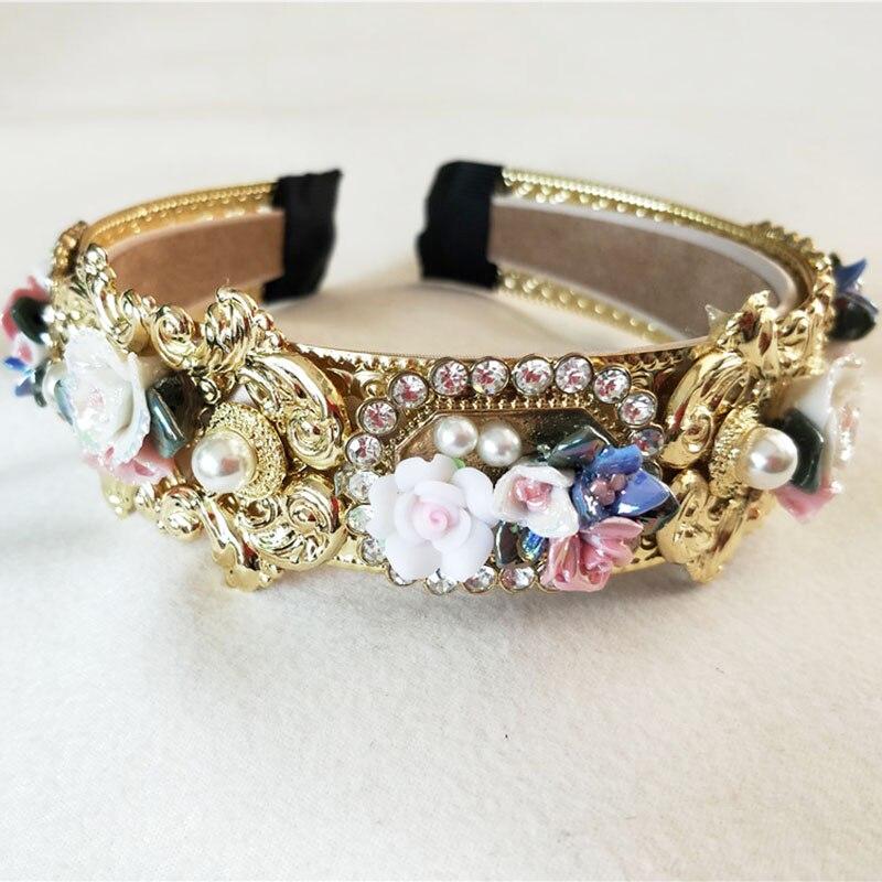 Fashionable Pearls Rhinestone Retro Palace Baroque Headdress Crown Luxury Velvet Hairband Card Wedding Hair Accessory