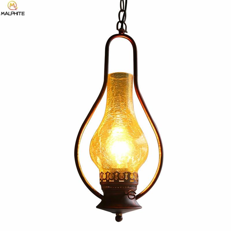 Chinese Retro Iron Pendant Lights Aisle Corridor Balcony Vintage Kerosene Hanglamp Lamp Kitchen Fixtures Lighting