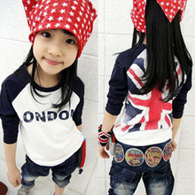 2016 Girls Boys T-shirt children's clothes rice word flag boys and girls long-sleeved T-shirt stitching casual t shirt bottoming