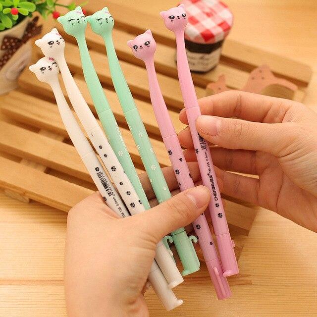 4 piezas pluma de Gel de gato lindo Kawaii papelería plumas por canetas material escolar de la Escuela de la Oficina suministros papelaria estudiante regalo