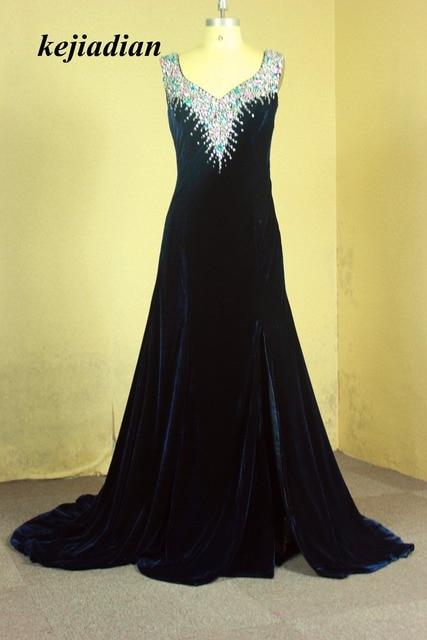 Gorgeous Crystal Evening Gowns Velvet Mermaid Long Evening Dress