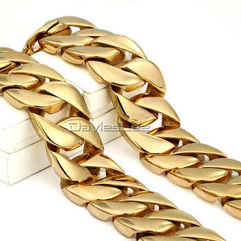 30MM Super Heavy Thick Mens Chain Round Curb Gold Tone 316L Stainless Steel Necklace 18-36inch Fashion Gift DLHN29