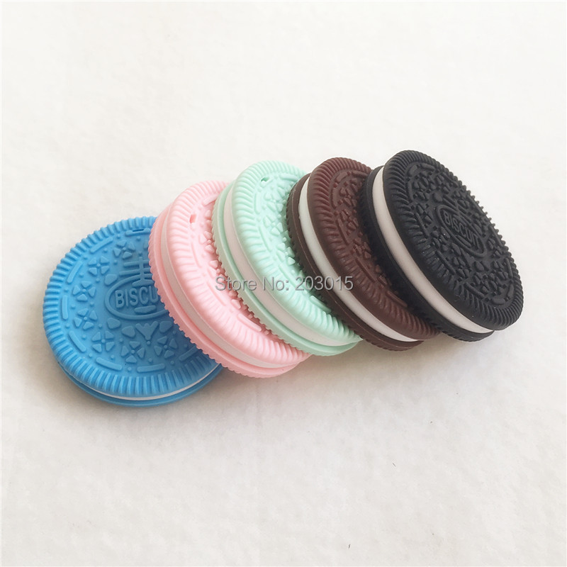 Nipple & Accessories Chenkai 10pcs Bpa Free Silicone Oreo Cookie Pendant Teether Baby Biscuit Pacifier Dummy Nursing Sensory Toy Gift Accessories Feeding