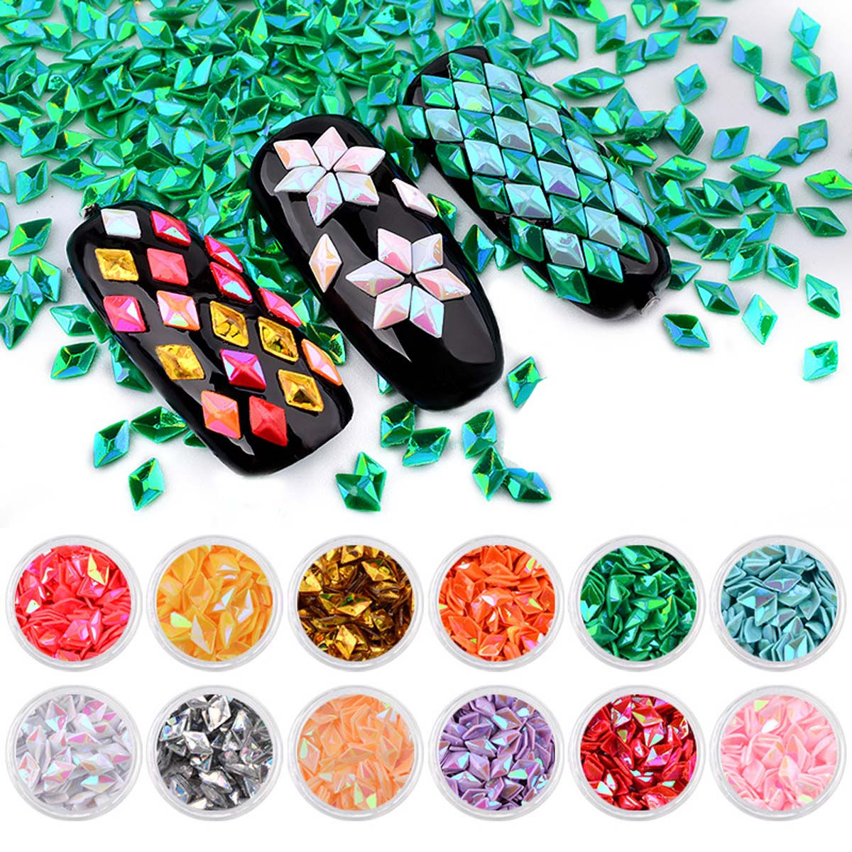 12 Pcs Nail Art Decoration Colorful Laser Rhombus Solid Nail Decorations Glitter 12 Colors Sequins Nail Jewelry Accessories