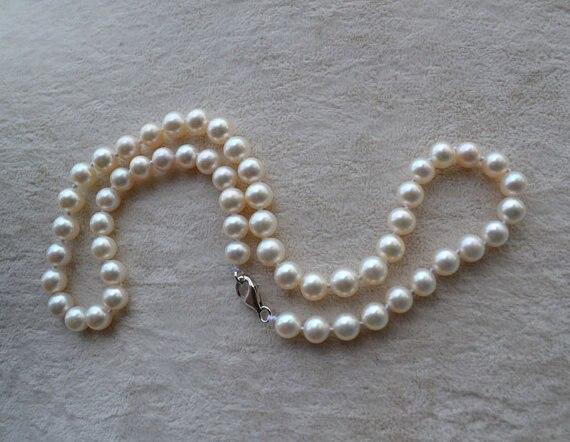Collier de perles parfait, charmant collier de perles d'eau douce de couleur blanche 100%, bijoux faits main AAA 6-7 MM 16 pouces.