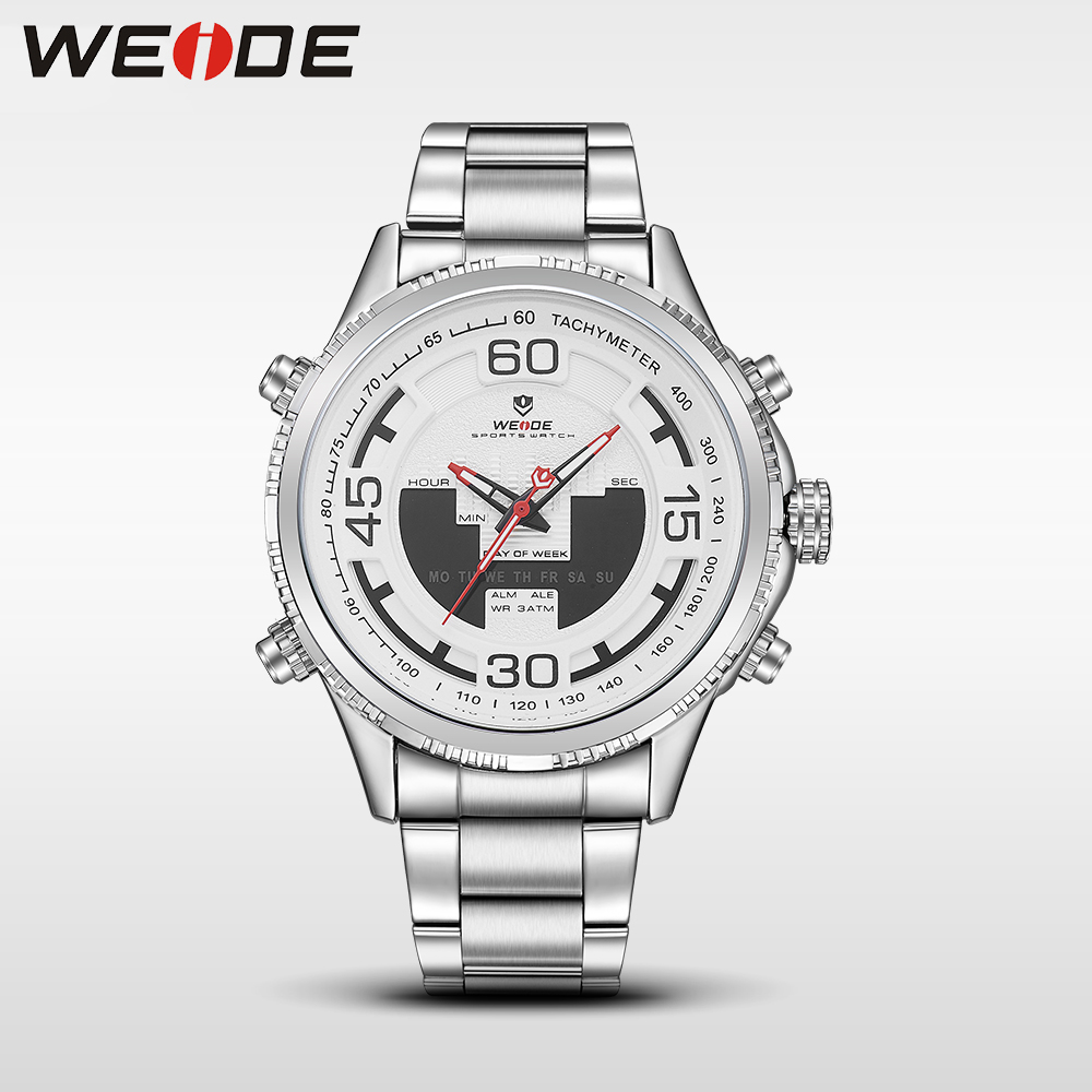 WEIDE genuine top brand luxury sport watch watch stainless steelin quartz LCD watches water resistant analog  militar clock men weide casual genuine luxury brand quartz sport relogio digital masculino watch stainless steel analog men automatic alarm clock