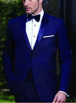 Handsome Groom Tuxedos Royal Blue Best Man Notch Lapel Groomsmen Men Wedding Suits Bridegroom( Jacket+ Pants+ Tie )
