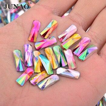 JUNAO 6*16mm Mezcla color AB cristales rectángulo Rhinestones parte trasera plana de acrílico piedras de cristal no Hotfix Strass DIY fabricación de joyería